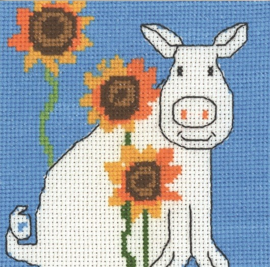 Permin Pig and Sunflowers Cross Stitch Kit