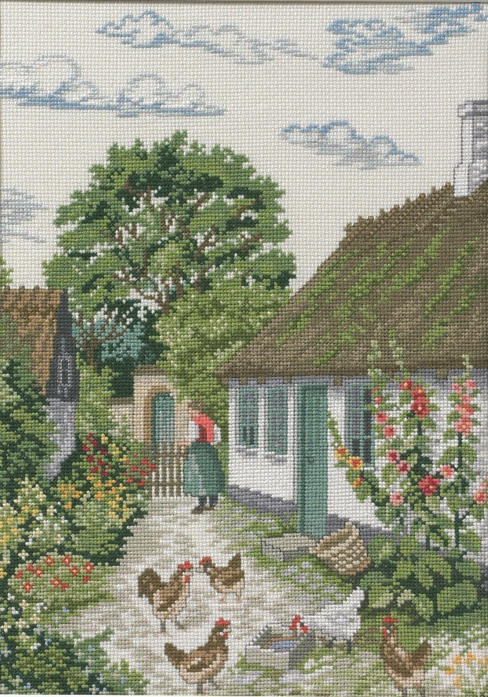 Eva Rosenstand Hollyhock - Aida Cross Stitch Kit