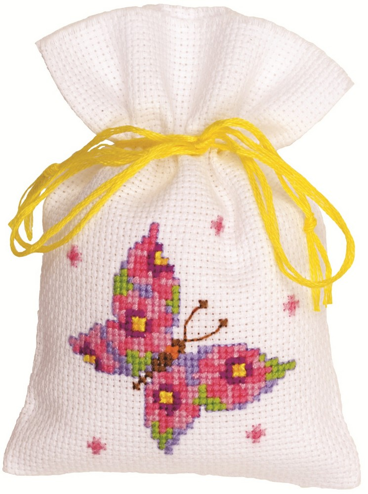Pink Butterfly Bag -  Cross Stitch Kit