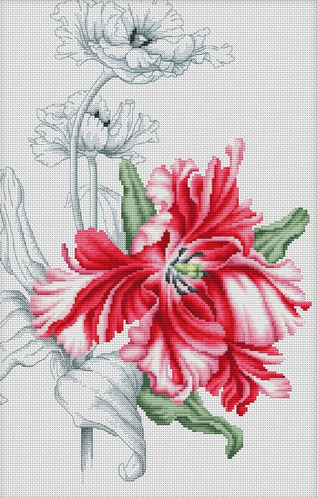 Luca-S Red Tulips Cross Stitch Kit