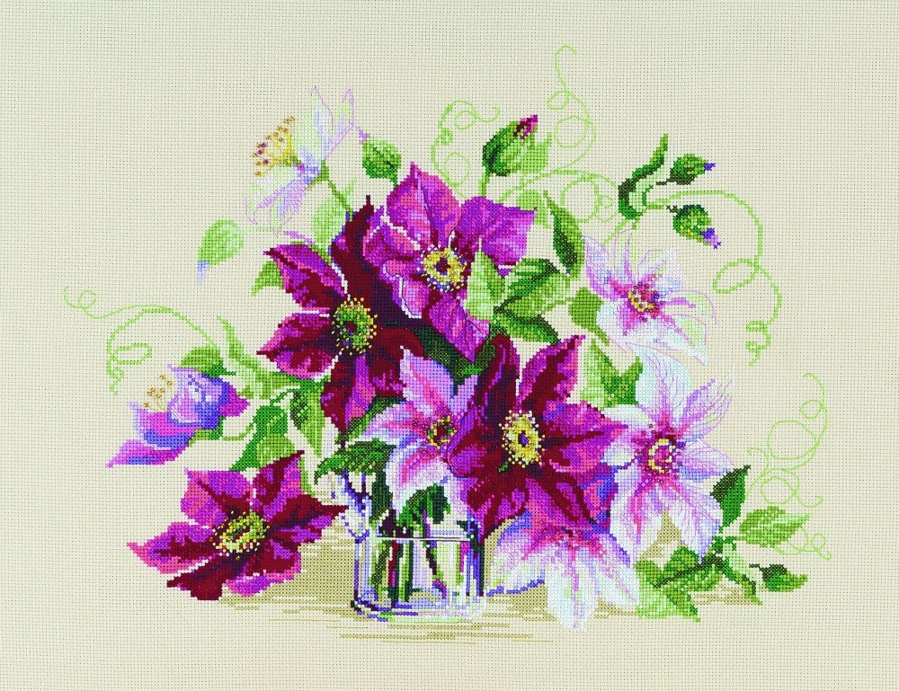 RIOLIS Clematis Cross Stitch Kit