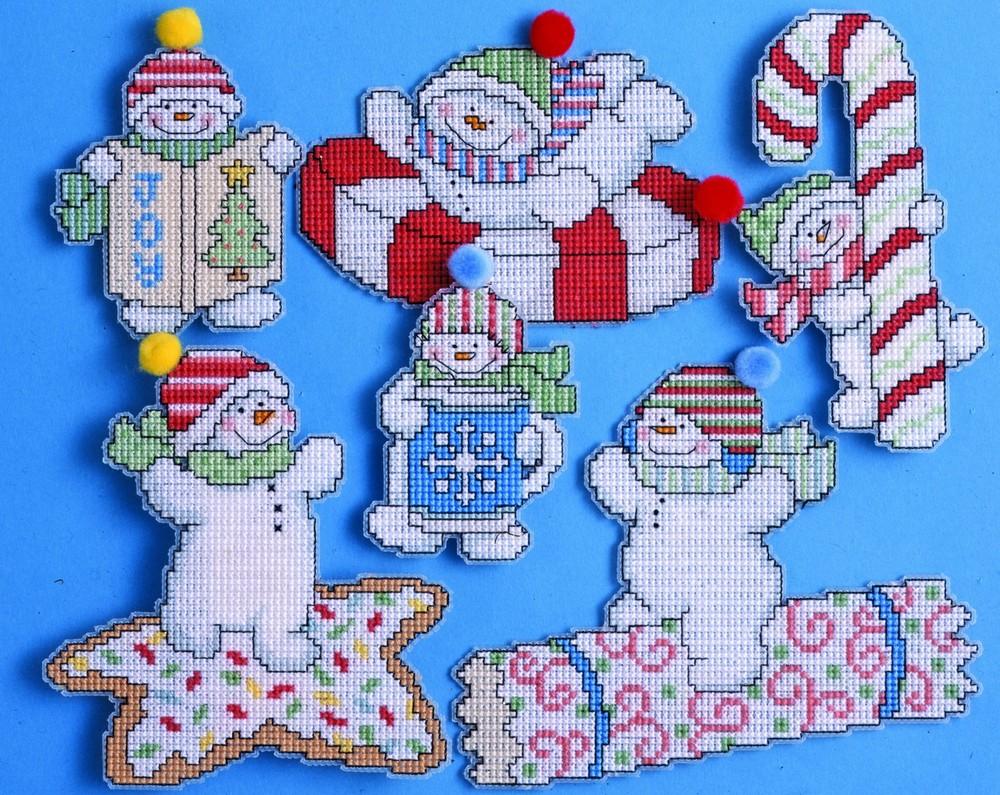 Design Works Crafts Sweetie Snowmen Ornaments Christmas Cross Stitch Kit