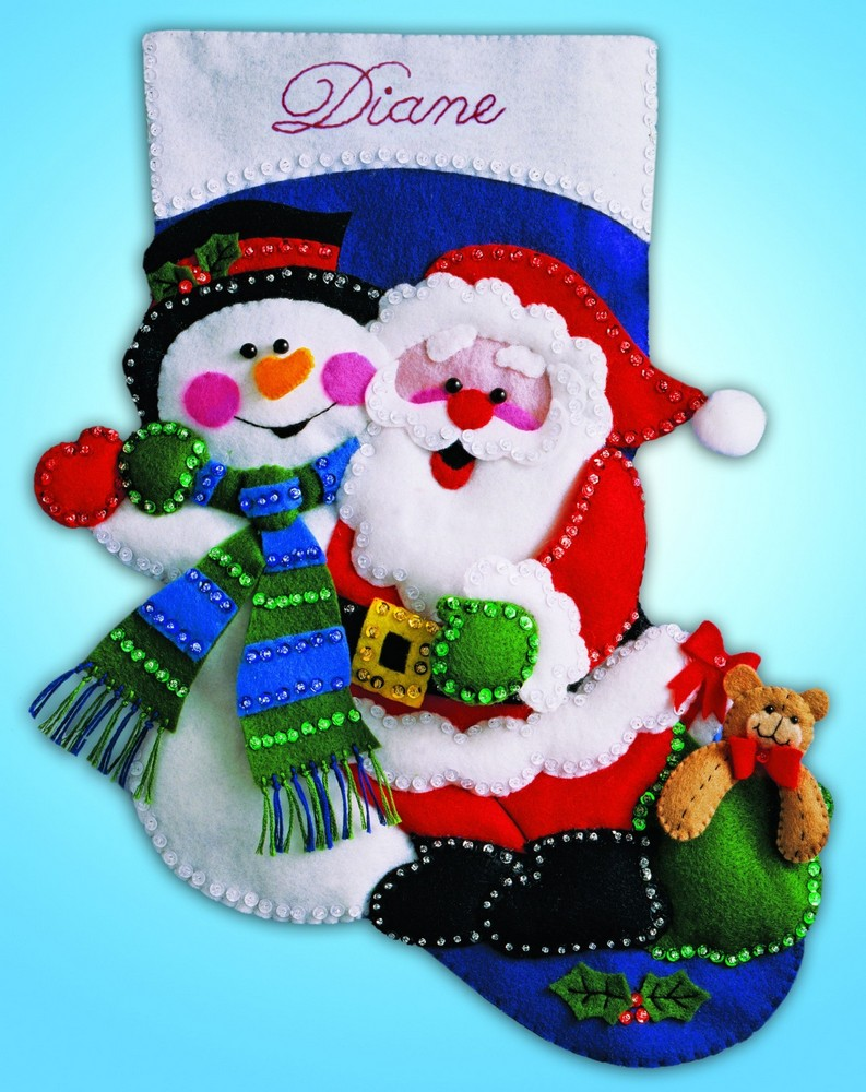 Design Works Crafts Snowman and Santa Felt Stocking Craft Kit