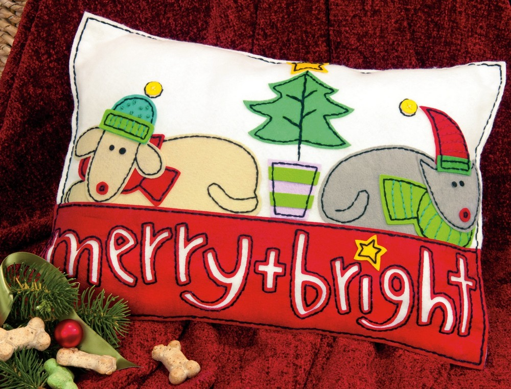 Dimensions Merry and Bright Pillow Christmas Craft Kit