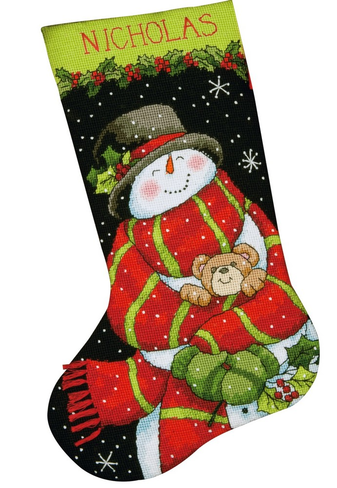 Snowman and Bear Stocking -  Christmas Tapestry Kit