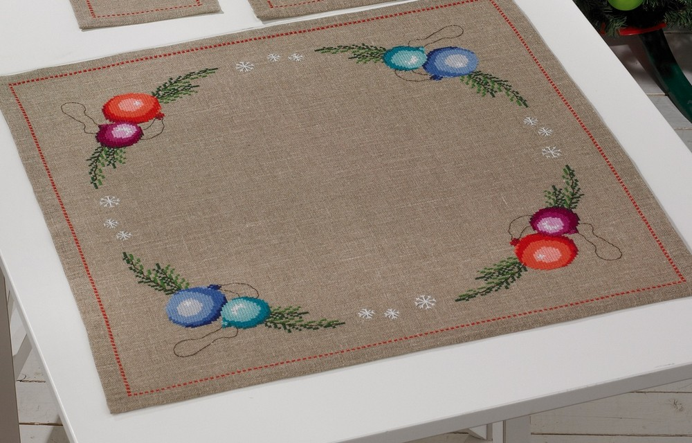 Permin Baubles Tablecloth Cross Stitch Kit