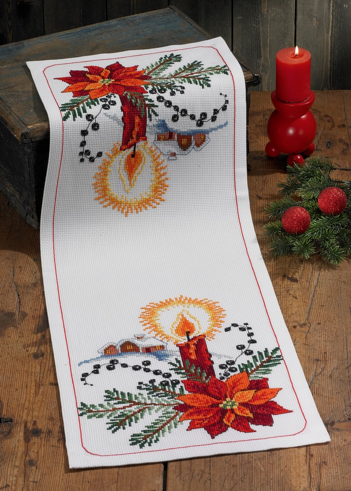 Permin Poinsettia Candle Runner Cross Stitch Kit