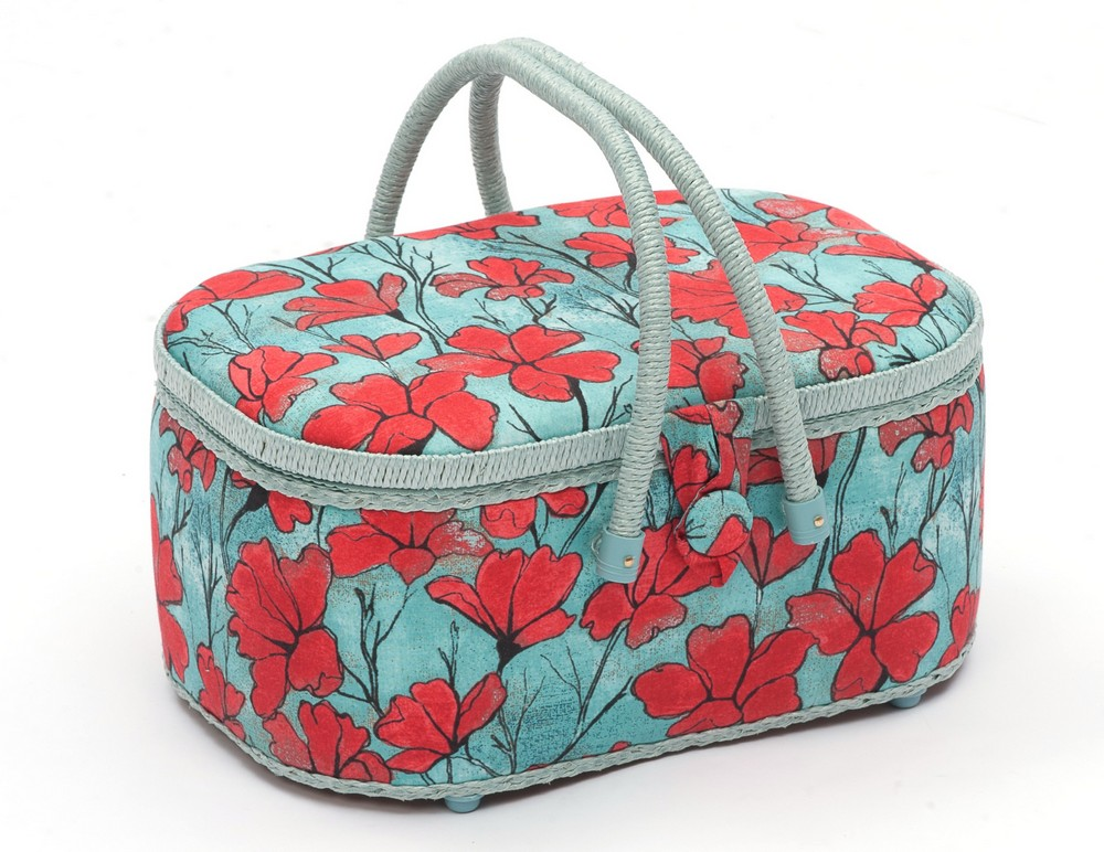 Hobby Gift Poppy Oval Sewing Box Large