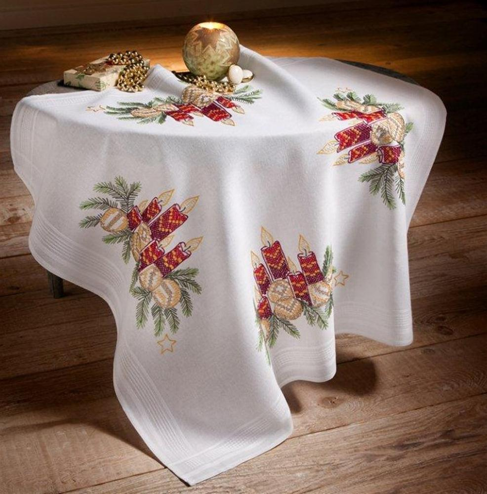 Candle and Baubles Tablecloth -  Christmas Cross Stitch Kit