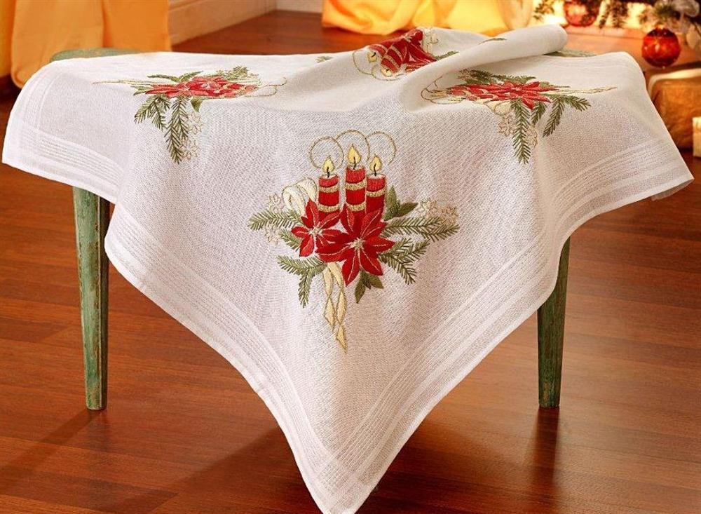 Deco-Line Candle and Poinsettia Tablecloth Embroidery Kit