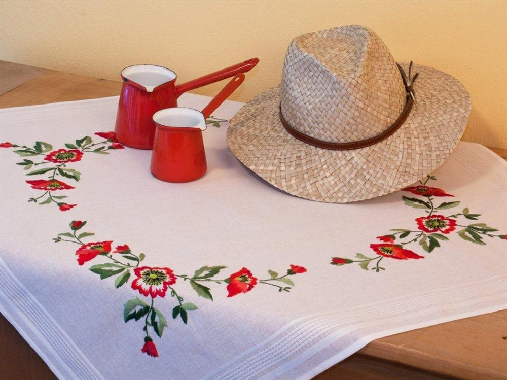 Poppies Tablecloth -  Embroidery Kit