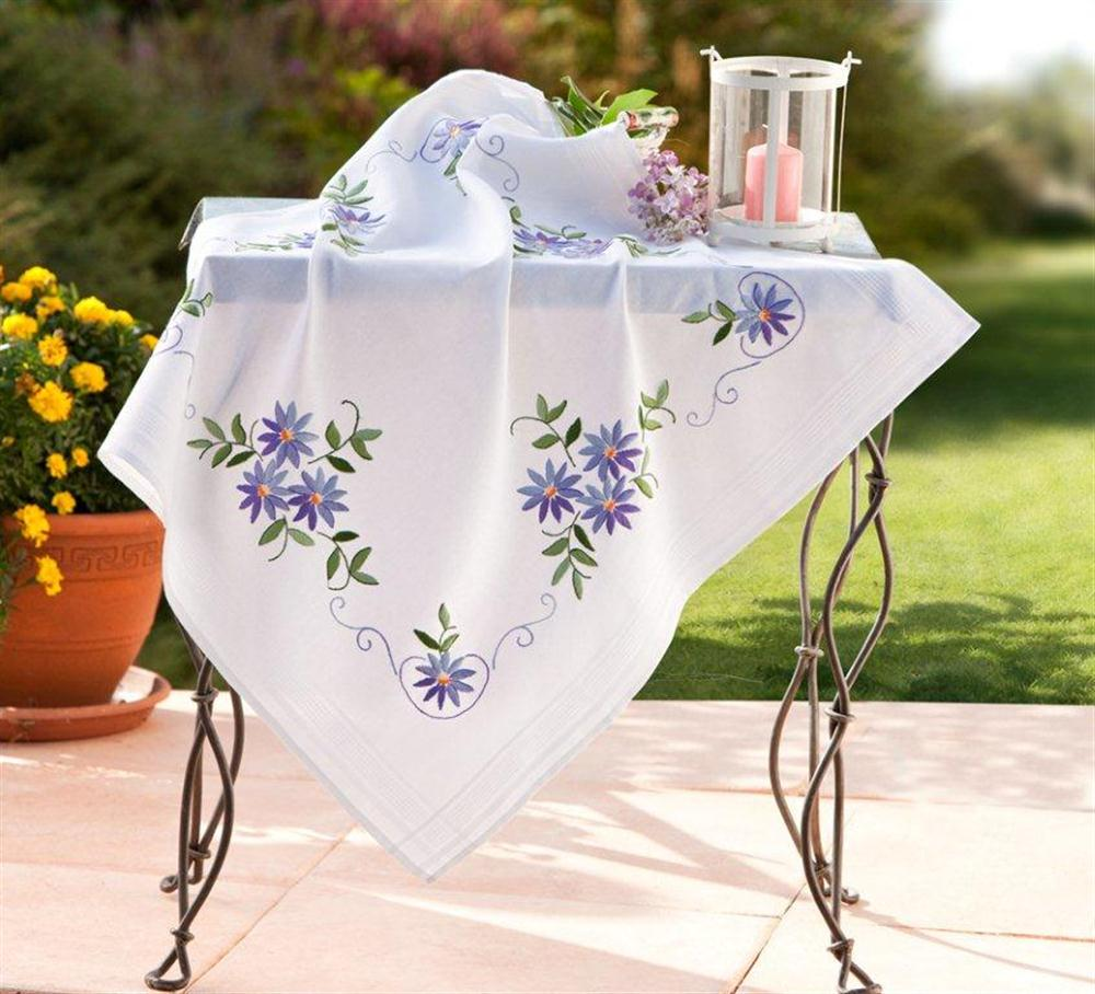 Blue Daisy Tablecloth -  Embroidery Kit