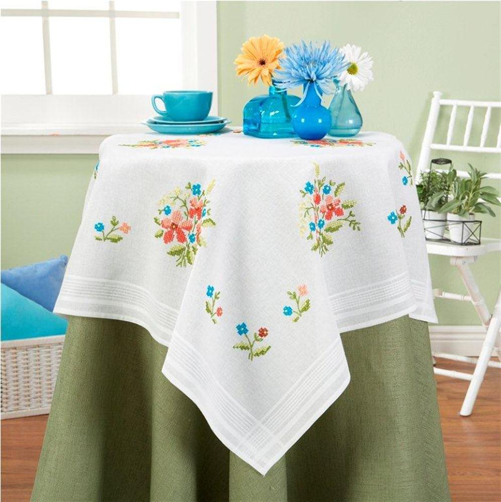 Simple Flowers Tablecloth -  Cross Stitch Kit
