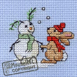 Mouseloft Snowbunny Christmas Card Making Cross Stitch Kit