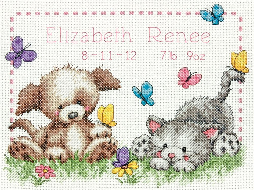 Pet Friends Birth Record -  Cross Stitch Kit