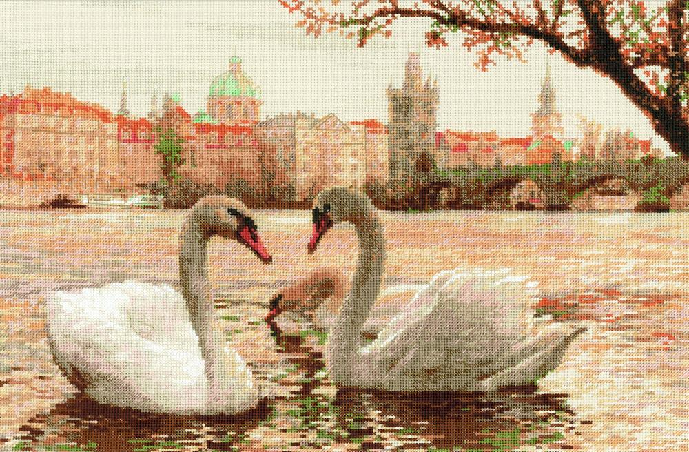 RIOLIS Prague Swans Cross Stitch Kit