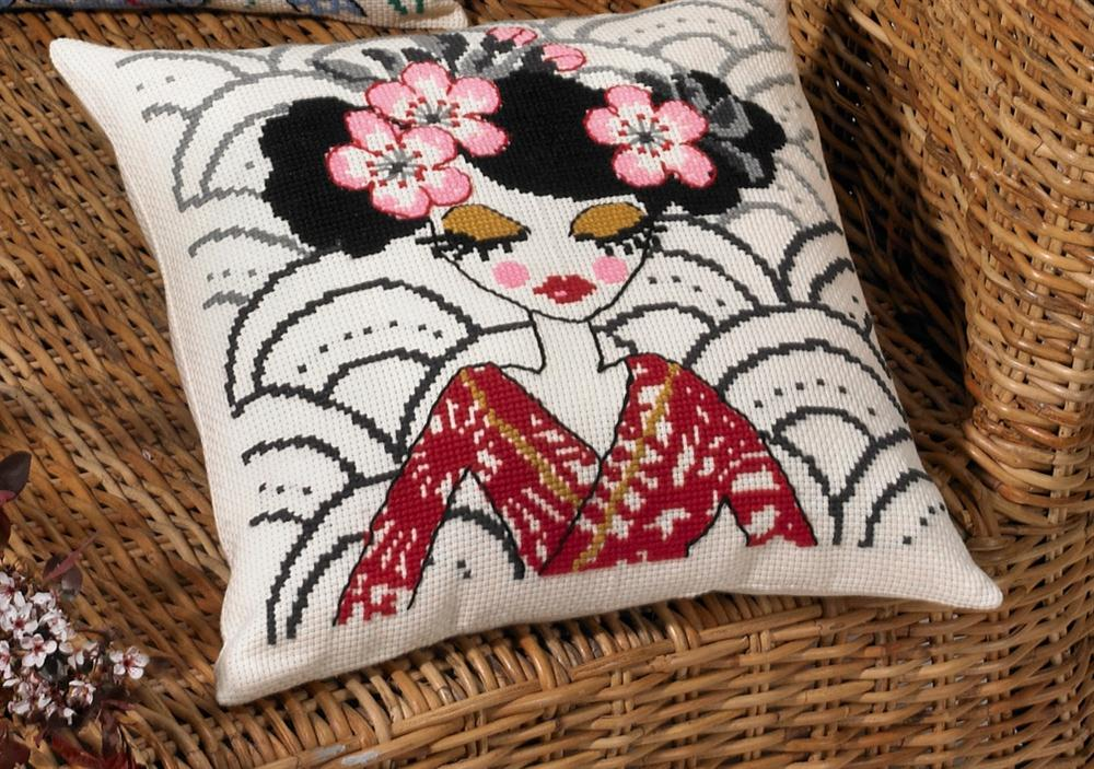 Permin Japanese Red Cushion Cross Stitch Kit