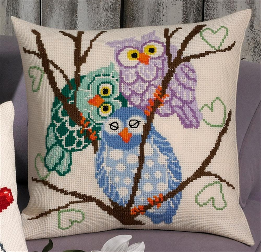 Permin Owl Trio Cushion Cross Stitch Kit