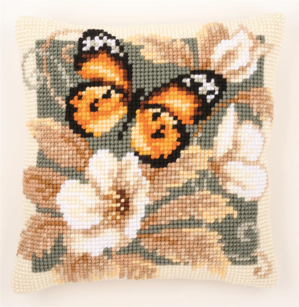 Vervaco Butterfly and Flowers Cushion 1 Cross Stitch Kit