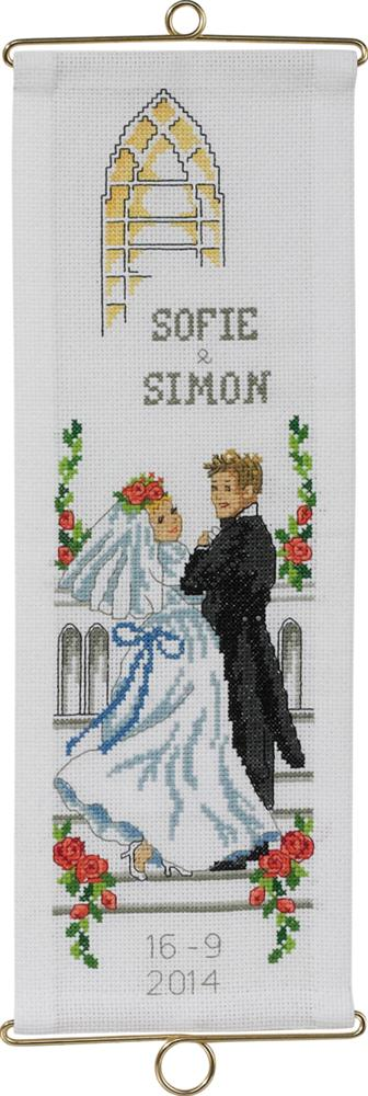 Bride and Groom Bellpull -  Cross Stitch Kit
