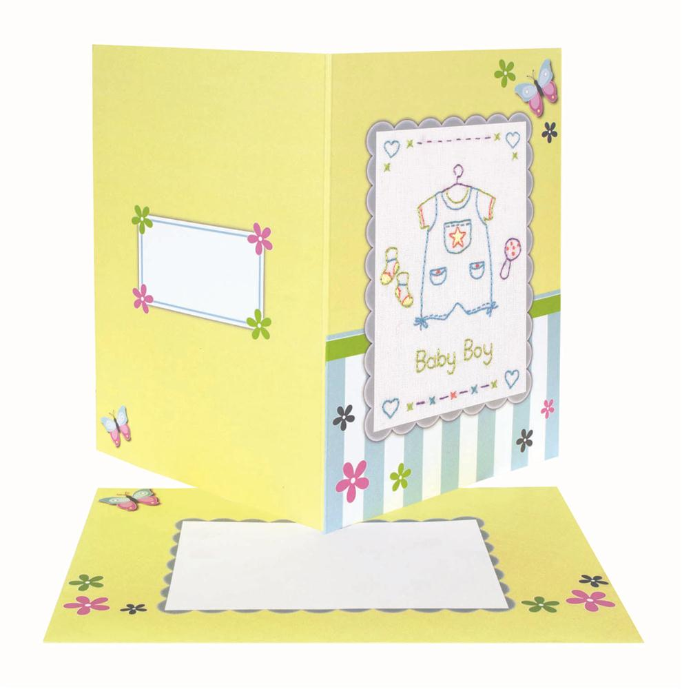 Baby Boy Embroidered Card -  Embroidery Kit