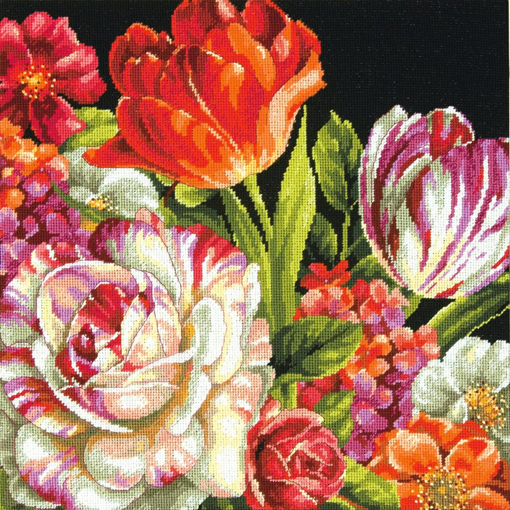 Bouquet on Black -  Tapestry Kit