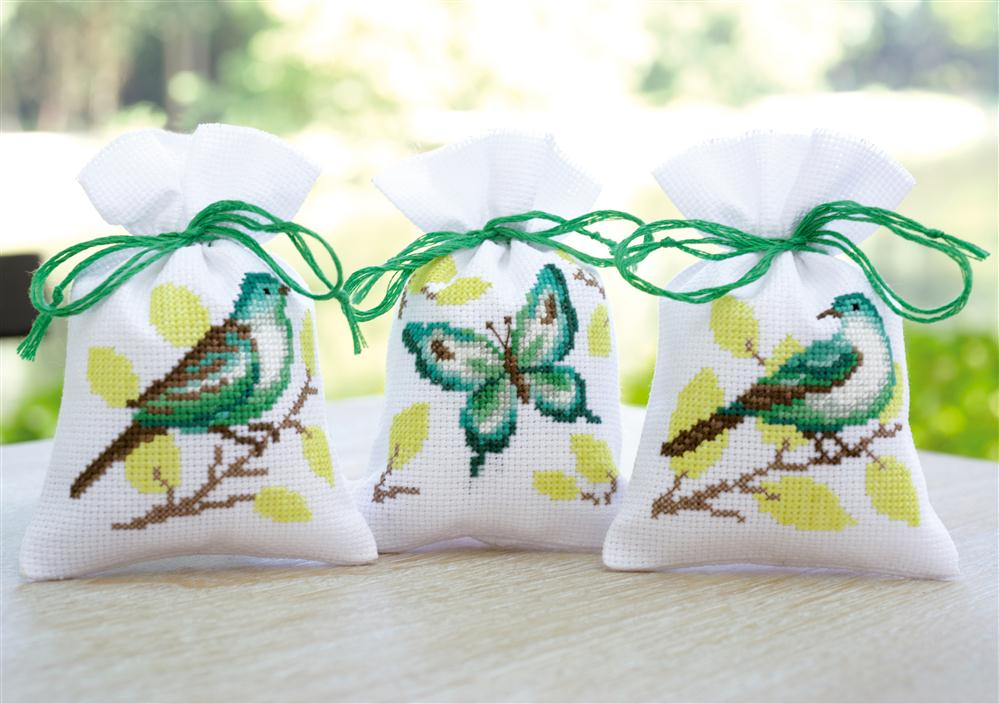 Vervaco Bird and Butterfly Bags - Set 3 Cross Stitch Kit