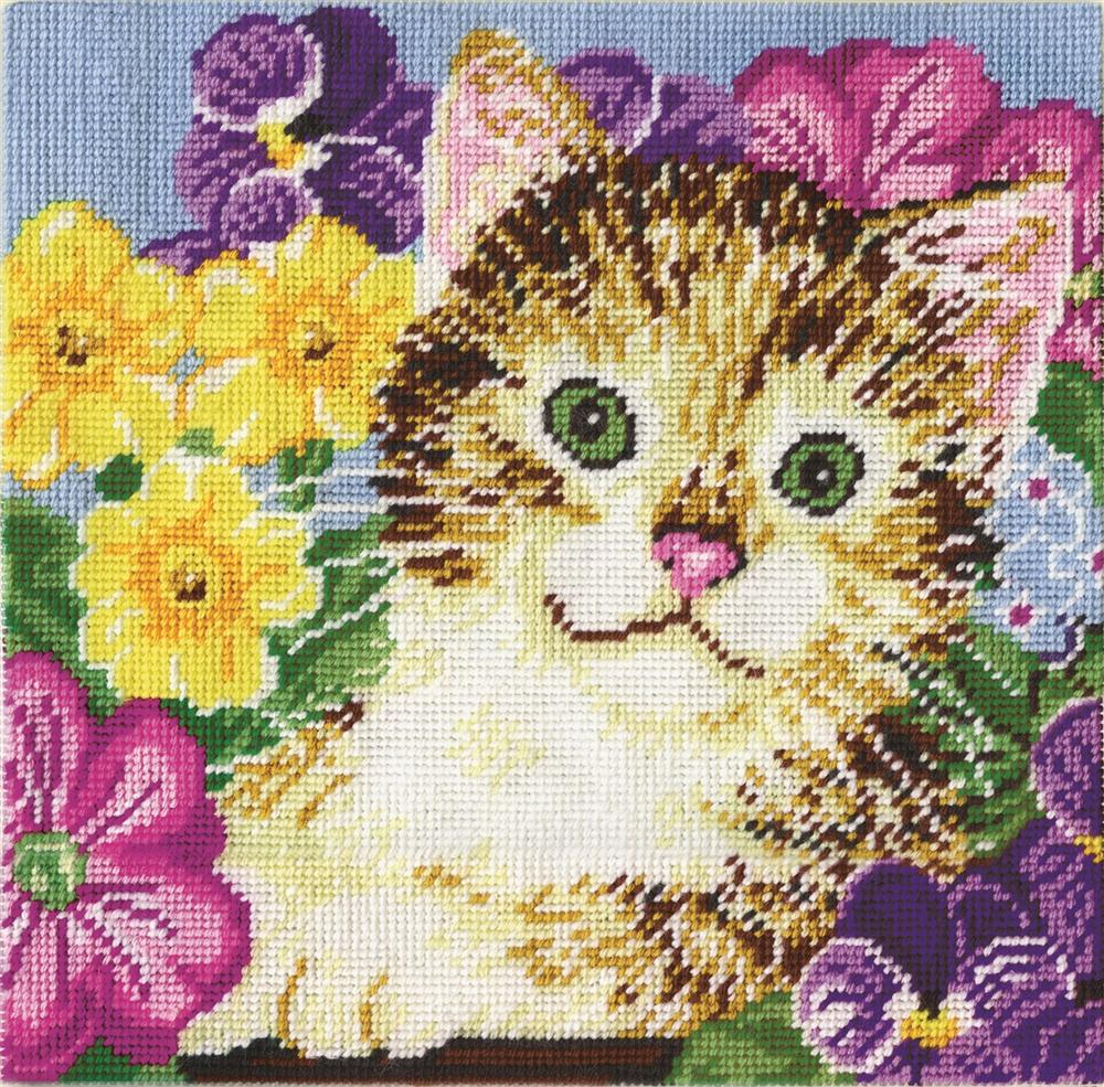 Design Works Crafts Cat in Flowers Tapestry Kit