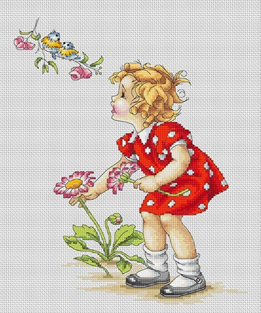 Luca-S Girl in Red Dress Cross Stitch Kit