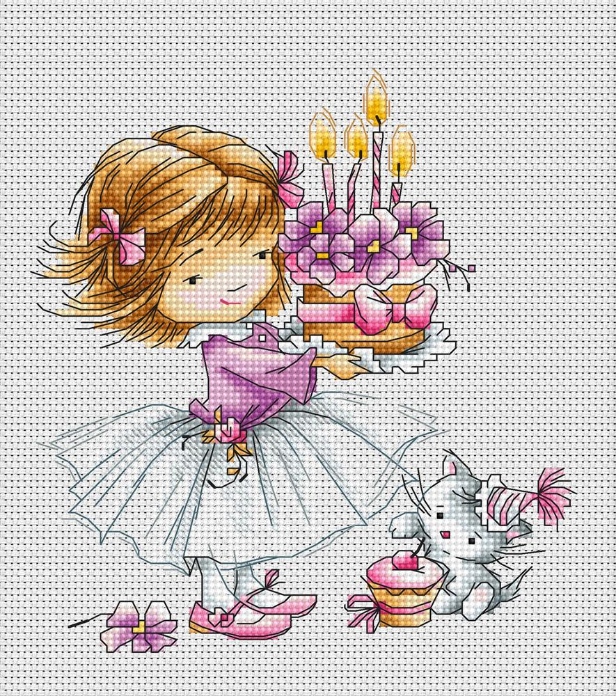 Luca-S Girl with Kitten and Cake Cross Stitch