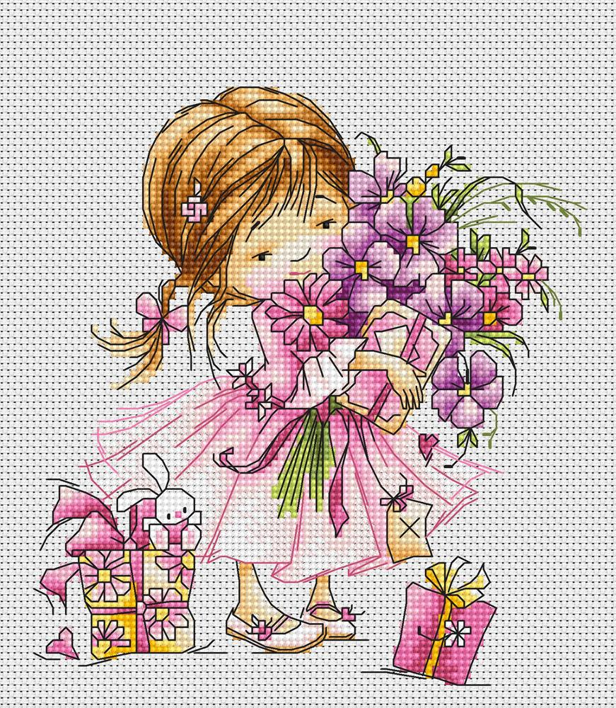 Girl with Bouquet -  Cross Stitch Kit