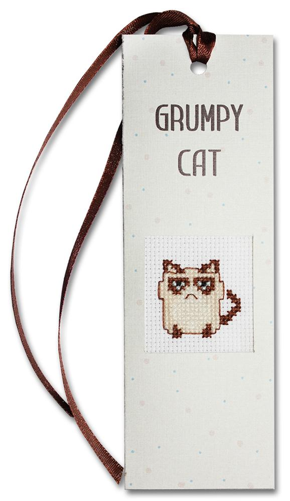 Luca-S Grumpy Cat Bookmark Cross Stitch Kit
