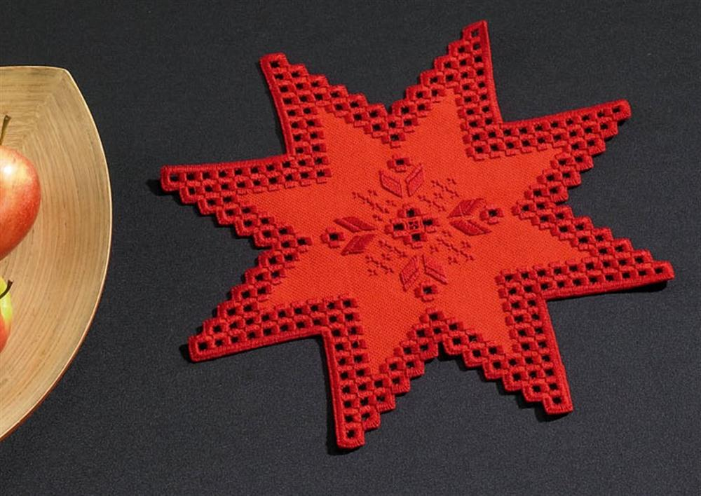 Permin Red Star Tablemat Embroidery Kit
