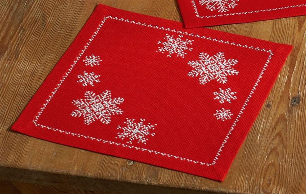 Red Snowflake Tablemat -  Christmas Cross Stitch Kit