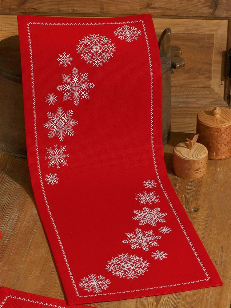Permin Red Snowflake Runner Christmas Cross Stitch Kit