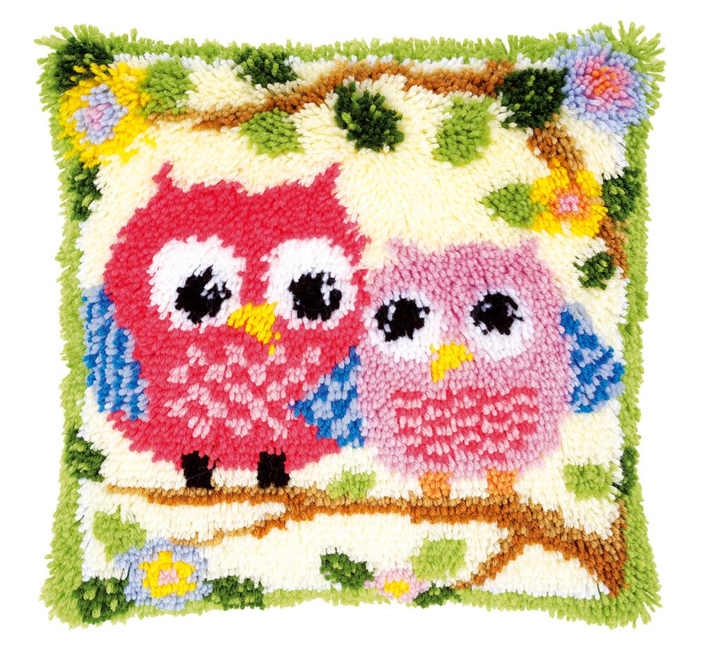 Vervaco Owls on a Branch Cushion Latch Hook Cushion Kit