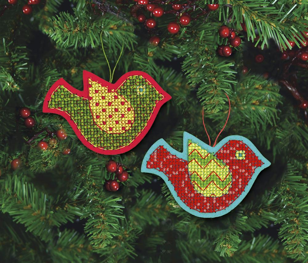 Jolly Bird Ornaments -  Christmas Cross Stitch Kit