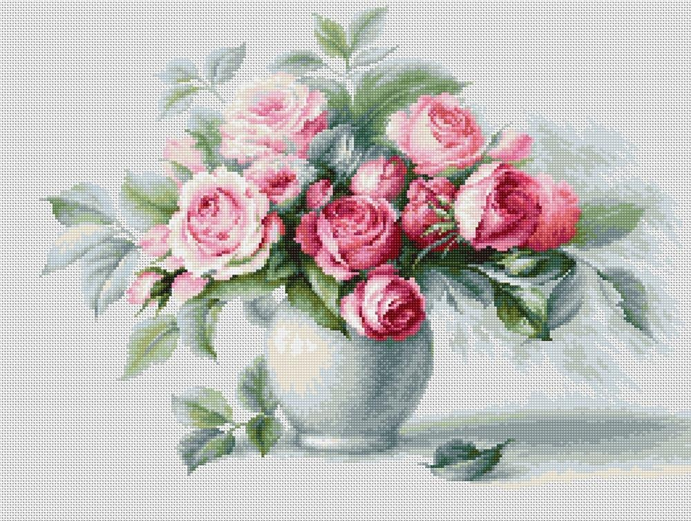 Etude with Roses -  Cross Stitch Kit
