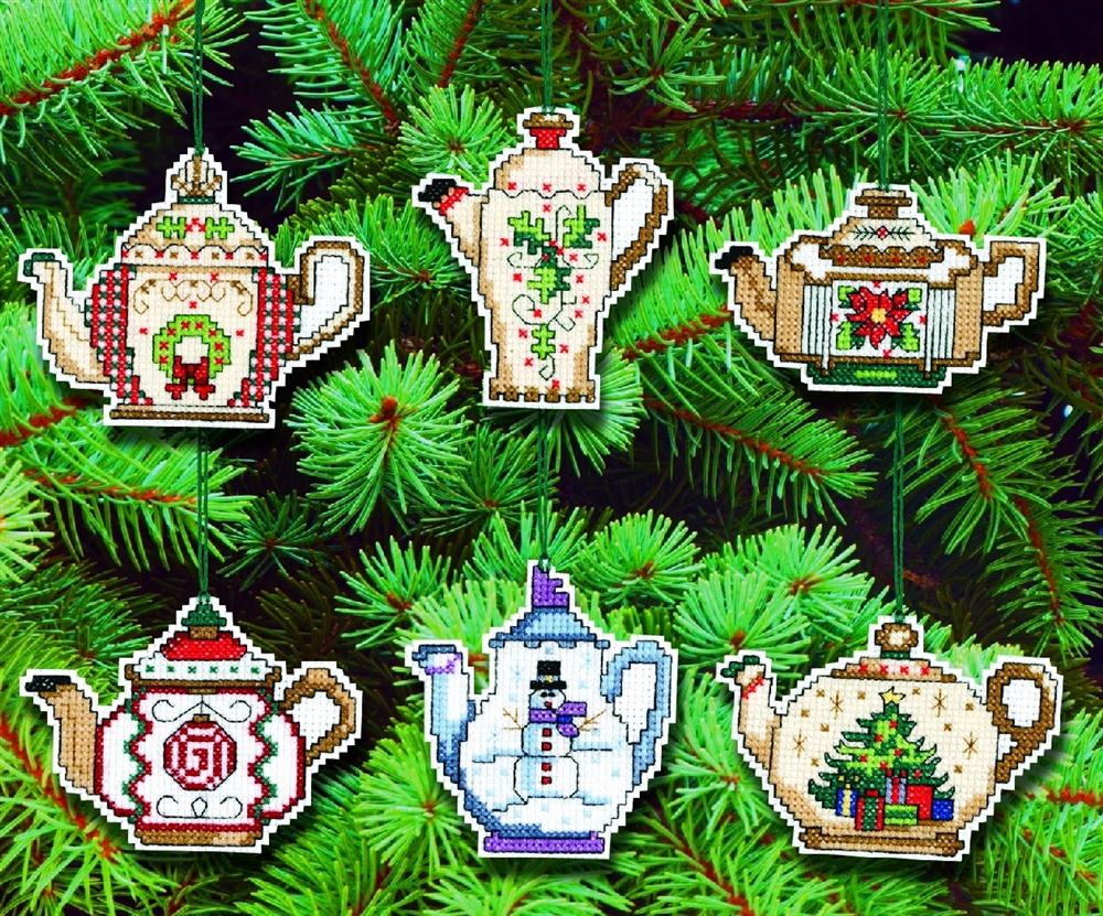 Festive Teapot Ornaments -  Christmas Cross Stitch Kit