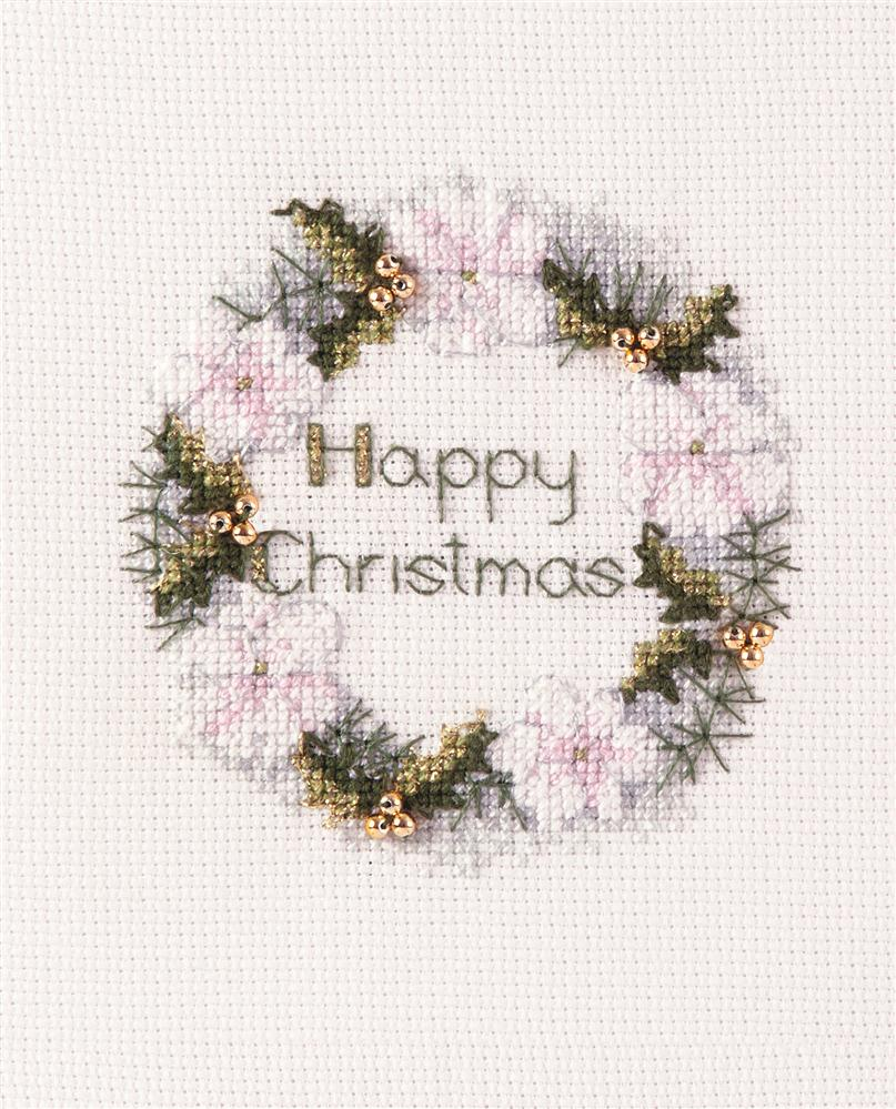 Golden Wreath Card -  Christmas Cross Stitch Kit