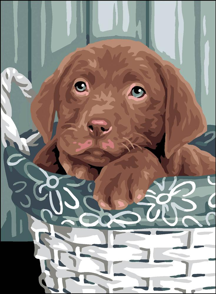 Puppy in a Basket -  Christmas Tapestry Canvas