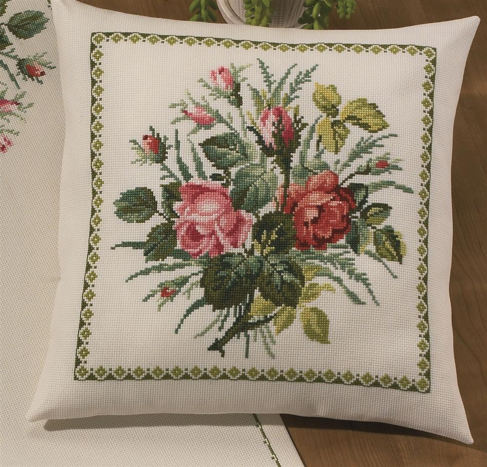 Permin Rose Bouquet Cushion Cross Stitch Kit