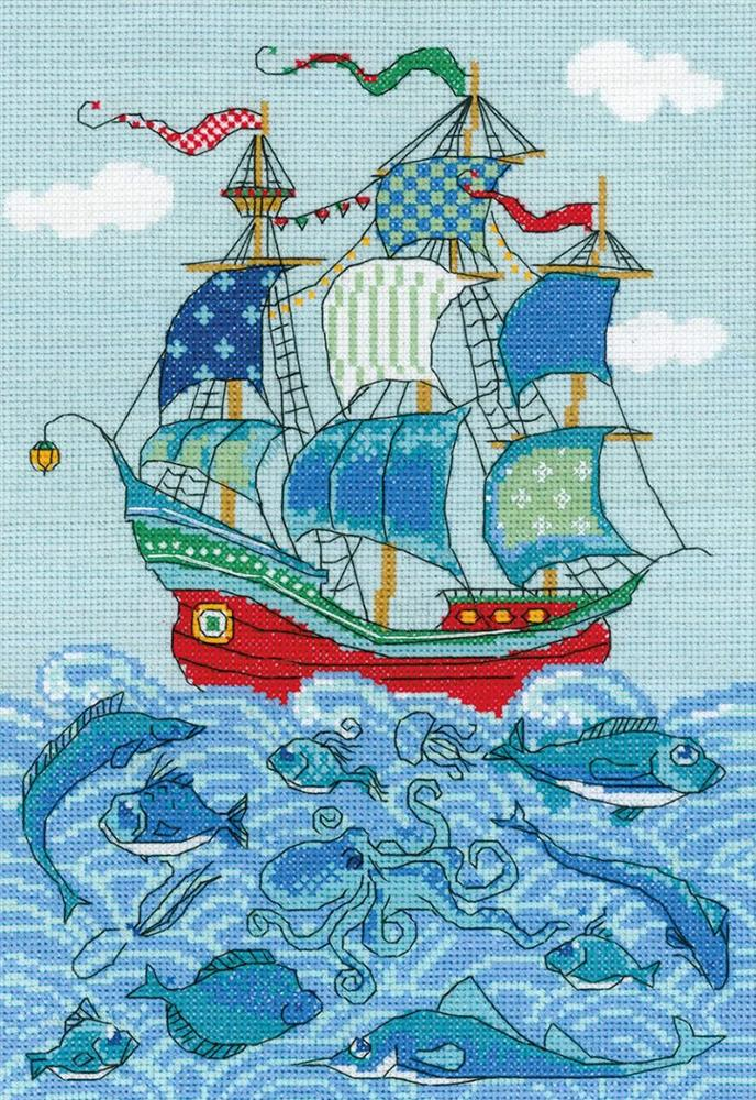 RIOLIS Sailboat  Cross Stitch Kit
