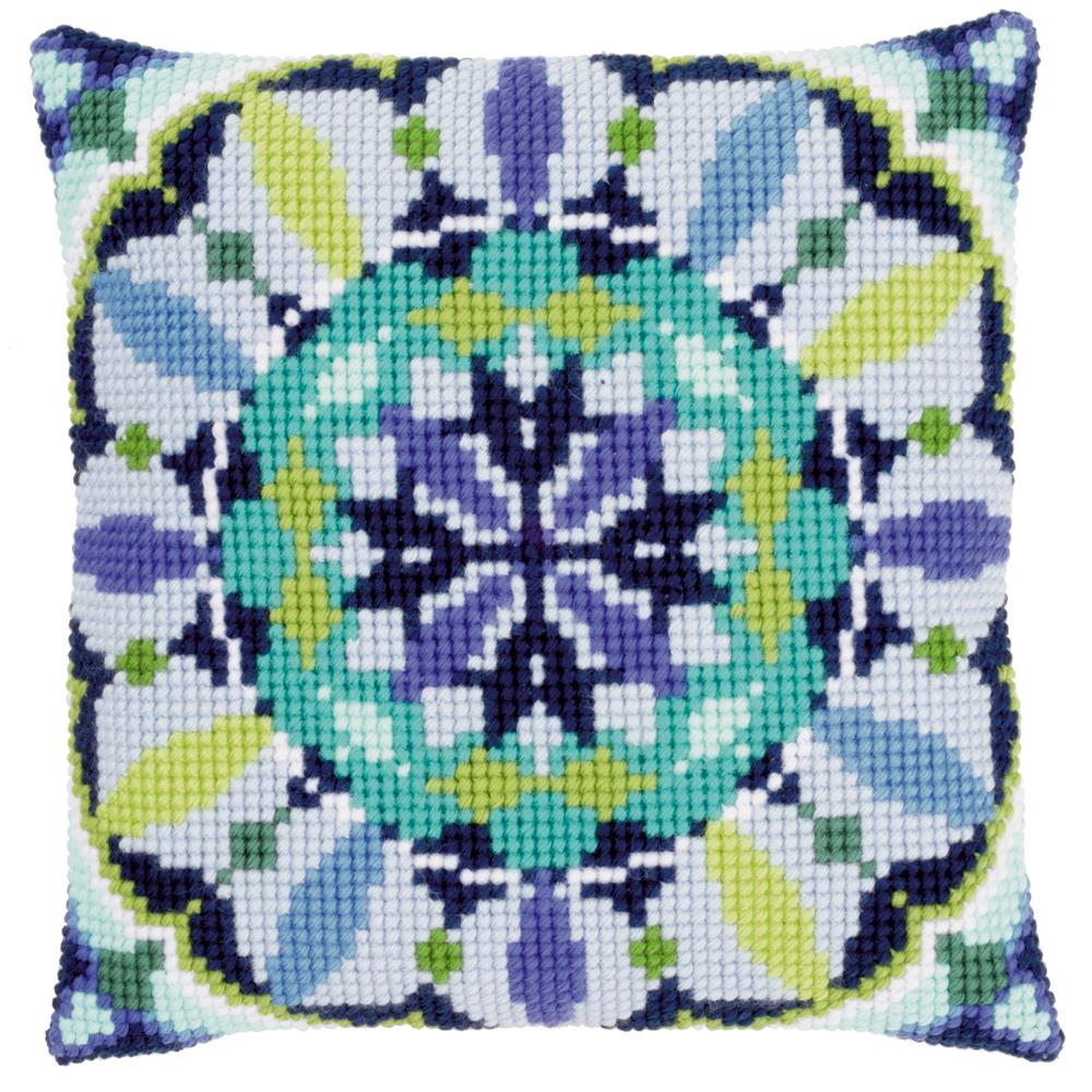Vervaco Blue Rosette Cushion Cross Stitch Kit