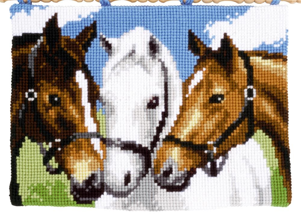 Vervaco Three Horses Wall Hanging Cross Stitch Kit