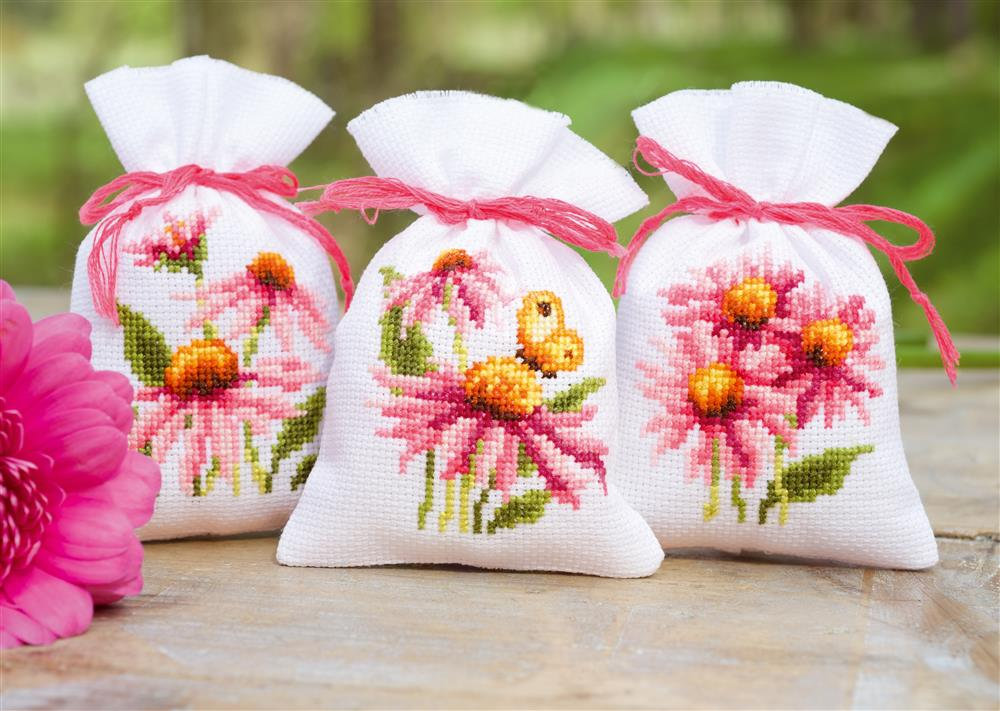 Echinacea & Butterflies Bags (Set of 3) -  Cross Stitch Kit