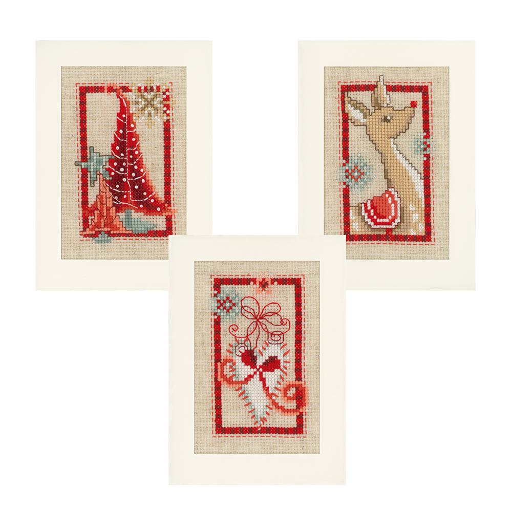 Vervaco Deer and Christmas Trees (Set of 3) Card Making Cross Stitch Kit