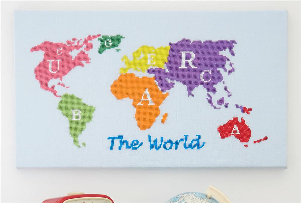 Map of the World -  Cross Stitch Kit