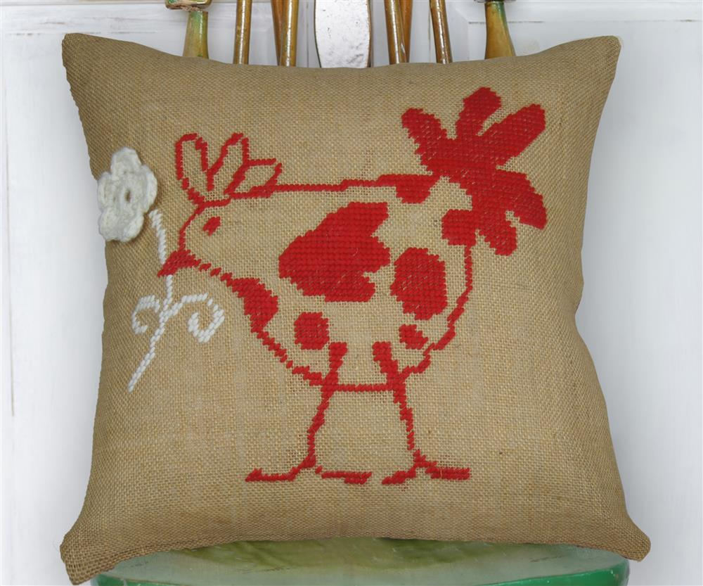 Anette Eriksson Flower Hen Premium Cushion Kit Cross Stitch
