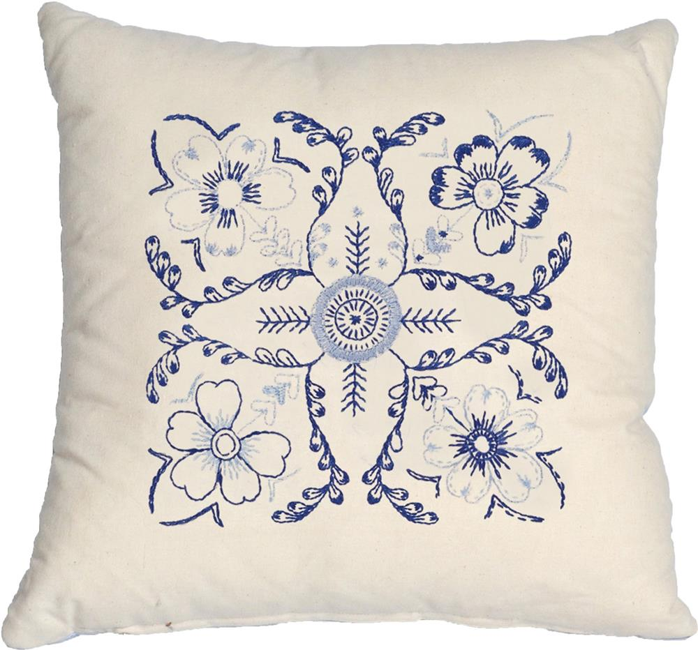 Anette Eriksson Blue Floral Value Cushion Front Embroidery Kit